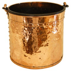 English Victorian Copper Riveted Coal Bucket with Iron Swing Handle