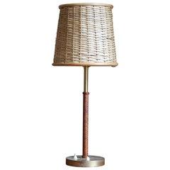 Bertil Brisborg, Table Lamp, Brass, Braided Leather, Rattan, NK, Sweden, 1940s