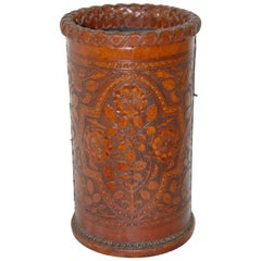English Arts & Crafts Hand Embossed Leather Waste Basket or Stickstand