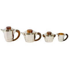 1925 Puiforcat, Tea and Coffee Set in Sterling Silver and Rosewood