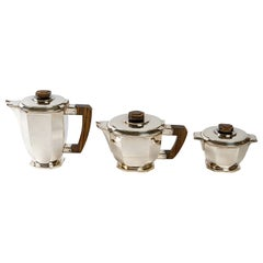1930 Ernest Prost, Tea and Coffee Service in Sterling Silver and Macassar