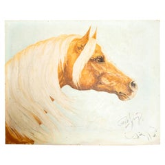 Pensive Palomino Horse Oil on Canvas Painting Signed Pat King 1969 Art Work