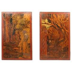 Pair of Art Nouveau Folk Art Pictures c1900