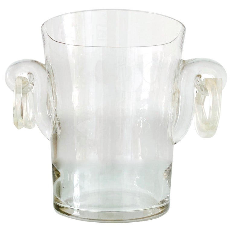 Vintage Italian Crystal Champagne Cooler with Lucite Handles, c. 1970's For Sale