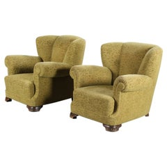 Pair of Danish 1940's Large Scale Club Chairs in the Style of Fritz Hansen