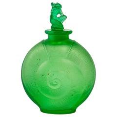 1920 René Lalique Amphitrite Perfume Bottle Emerald Green Glass