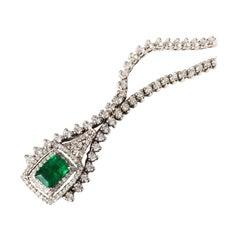 18K White Gold Diamond and Emerald Estate Necklace