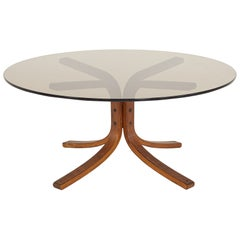 Westnofa Mid Century Bentwood and Smoked Glass Coffee Table