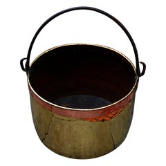 Continental Mid 19th Century Brass Cauldron with Wrought Iron Handle