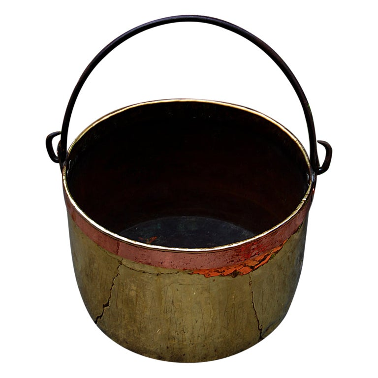 Continental Mid 19th Century Brass Cauldron with Wrought Iron Handle For Sale