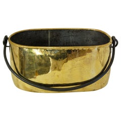 Dutch Mid 19th Century Oval Brass Cooking Cauldron with Wrought Iron Handle