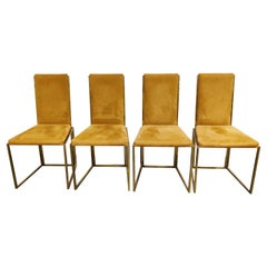 Brass Dining Chairs by Belgochrom, 1970s, Set of 4