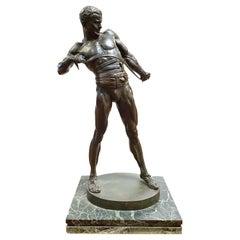 Heinrich Karl Baucke German Bronze Figure of a Gladiator