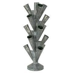 Large Vintage Zinc Fleuris Stand