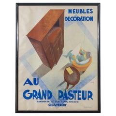 Framed French Poster, 'Au Grand Pasteur' by C. Villot, France, 1935
