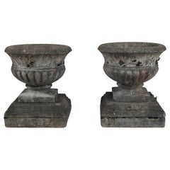 Pair of Antique Cast Stone Garden Urns on Bases, circa 1920