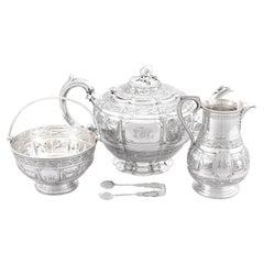 Antique Victorian Sterling Silver Three Piece Zodiac Tea Service, 1882