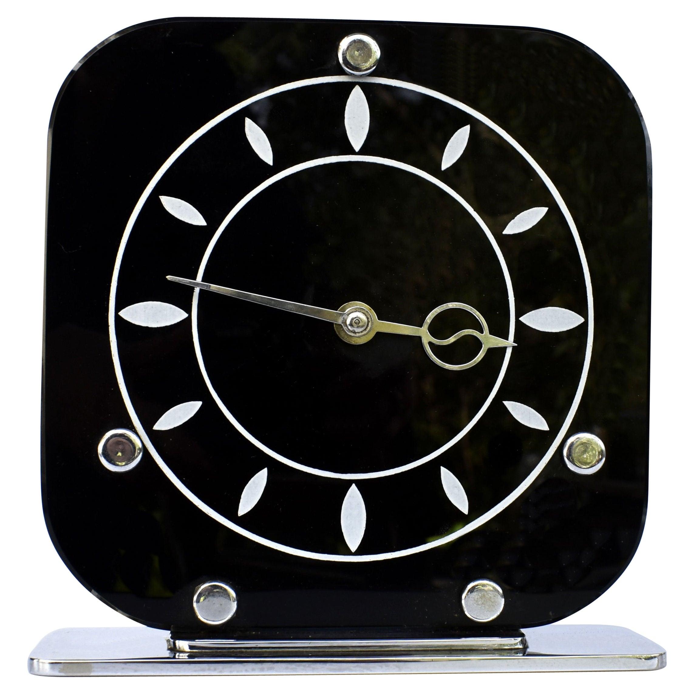 Art Deco Black Vitrolite & Chrome Mantle Clock, English, c1930