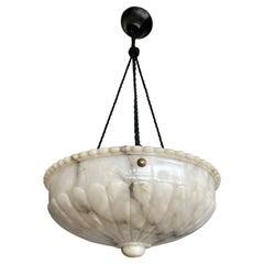 Sizeable Black & White Antique Alabaster Pendant Chandelier Top Quality Fixture