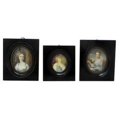 Antique French Miniature Pair Watercolours Paintings Portrait Lady Ebony Frames
