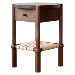 Mae Modern Solid Wood and Leather Side Table by Crump and Kwash
