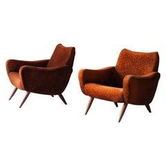 Kurt Hvitsjö, Freeform Lounge Chairs, Fabric, Stained Wood, Isku, Finland, 1950s