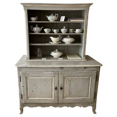 Louis XV Style Grey Painted Buffet a Deux Corps Cabinet