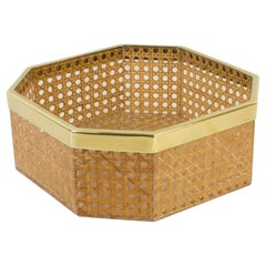 Christian Dior Home Collection 1970s Lucite and Rattan Basket Bowl Centerpiece