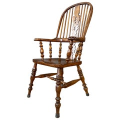 Victorian Style Windsor Hoop Back Broad Arm Chair