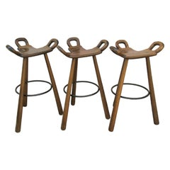 """Brutalist """"Marbella"""" Bar Stools by Confonorm, 1970s"""