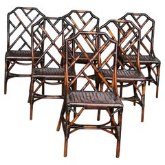 MCM Rattan / Cane Dining Table & 6 x Chippendale Style Chairs, Angraves 1970s