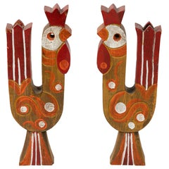 Folk Art Rooster Candle Holders