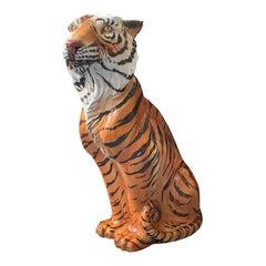 Large Mid Century Italian Glazed Ceramic Tiger Statue