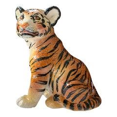 1970s Italian Ceramic Glazed Tiger Statue
