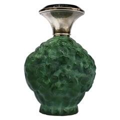 Art Deco Green Malachite Glass & Silver Perfume Bottle, c1930