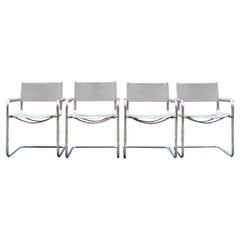 Vintage Italy Light Grey Leather Dining Chairs Armchairs Cantilever Set of 4