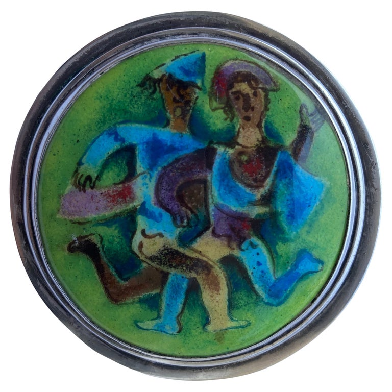 Karl Drerup Enamel Metal and Sterling Silver, Plaque/Brooch/Pin Picture, Signed For Sale
