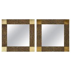 Pair of Luciano Frigerio 1970s Bronze Mirrors