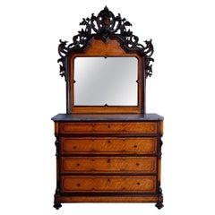 Antique Rococo Revival Birdseye Maple & Figural Carved Walnut Dresser, c1860