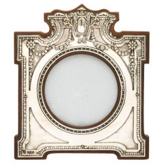 Unusual Edwardian Sterling Silver Picture Frame with Wood Back