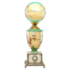 Pairpoint Obverse Hand-Painted Orientalist Oil Lamp, c 1915