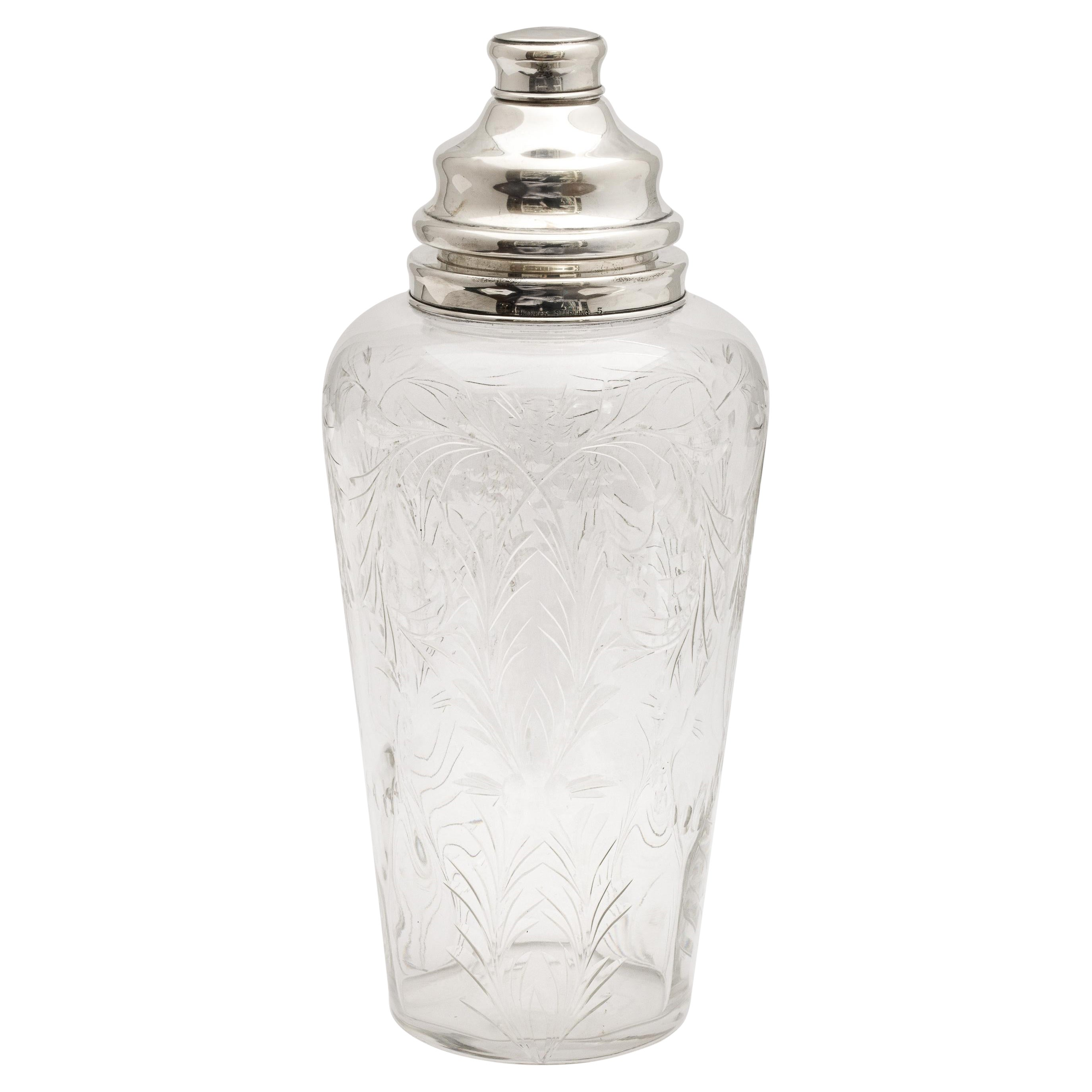 Art Deco Sterling Silver-Mounted Cocktail Shaker by Hawkes