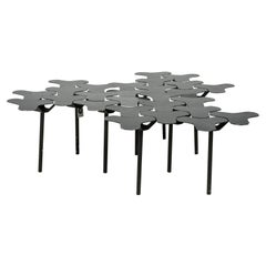 Set of 3 Italian Contemporary Black Painted Side Tables / Interlocking Coffee