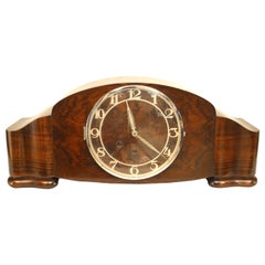 Mauthe Art Deco Walnut Mantel Clock