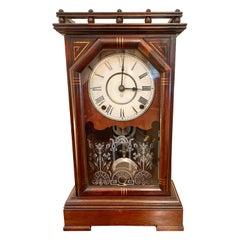Unusual Antique Victorian Walnut Mantel Clock