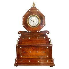 Antique 19th Century Rosewood Inlaid Mantel Clock