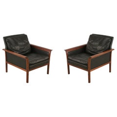 Pair of Knut Saeter for Vatner Mobler Mid-Century Norwegian Leather and Rosewood