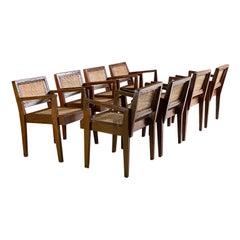 Pierre Jeanneret 'Take Down' Teak Armchairs Set of Eight Chandigarh Circa 1955