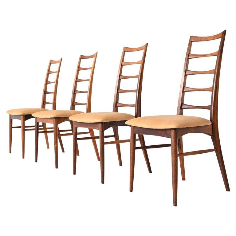Niels Koefoed Model Lis Rosewood Dining Chairs Denmark 1961