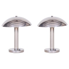 Pair of Czech Chrome Bauhaus Table Lamp, Restored and Electrified, 1930s